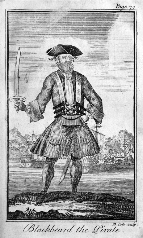 Engraving of Blackbeard holding a cutlass in front of a shipyard scene