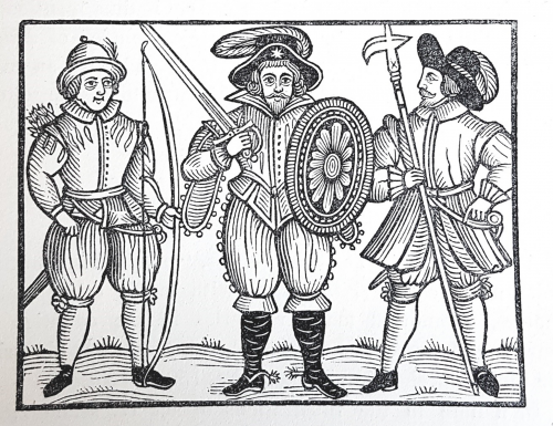 Three men holding weapons: bow and arrows, sword and buckler, and a pollaxe