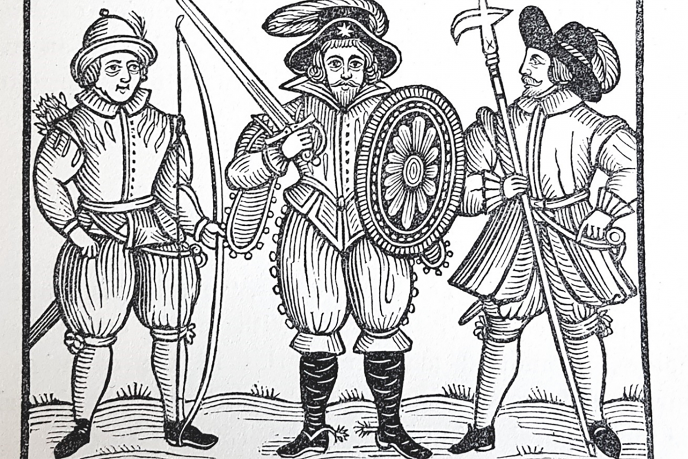 Engraved print of Robin Hood and two men holding weapons