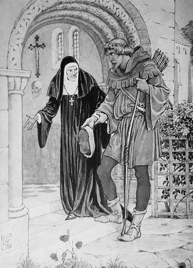 An elderly nun leads Robin Hood through an archway into the priory