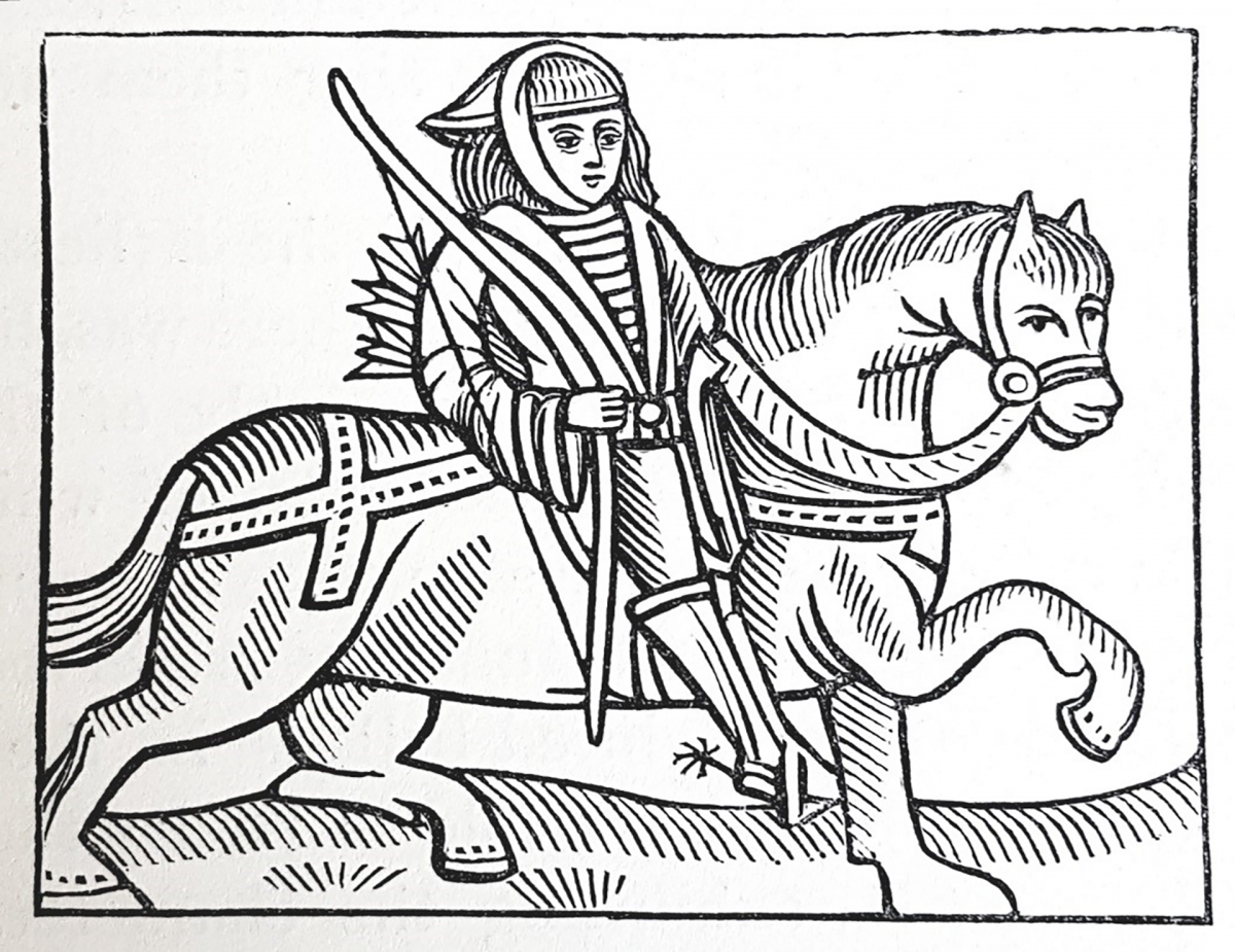 Black and white drawing of Robin Hood, with archers bow, on horseback
