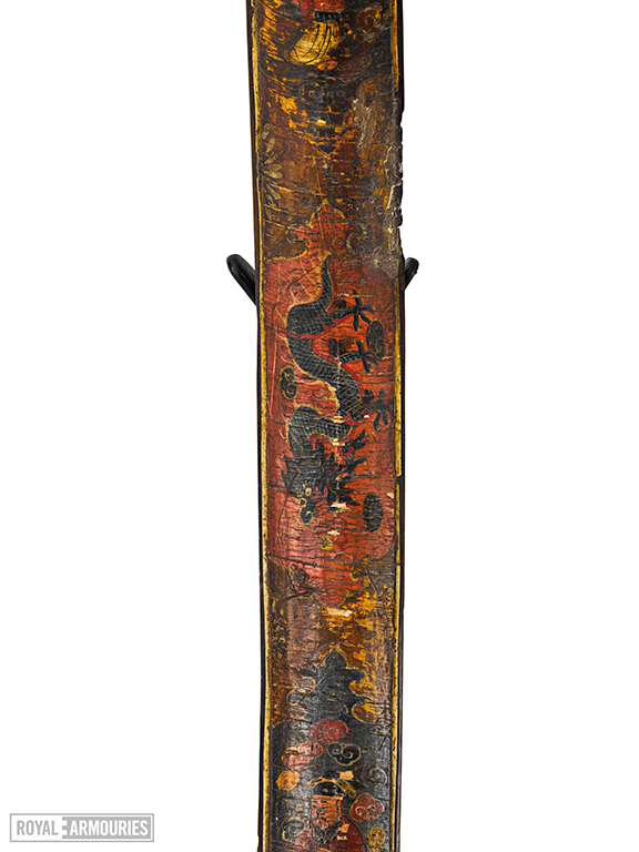 Bow, painted with human figures, dragons, flowers and clouds