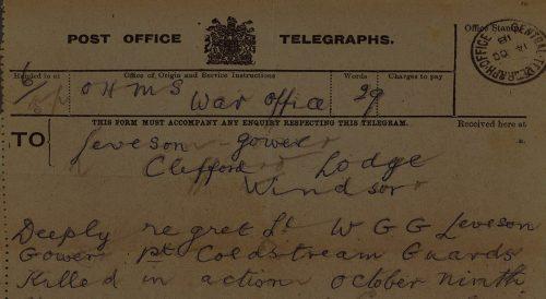 War office telegram from First World War