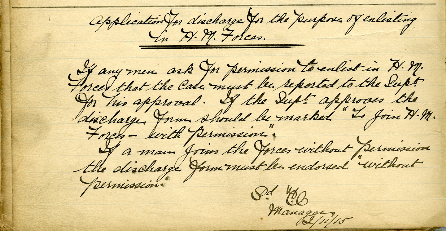 Staff memo from 1915 stating that all men needed permission before enlsiting in the army