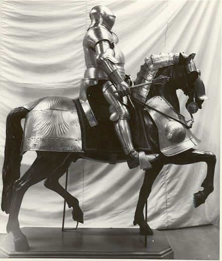 Henry VIII's armour mounted on a horse with armour
