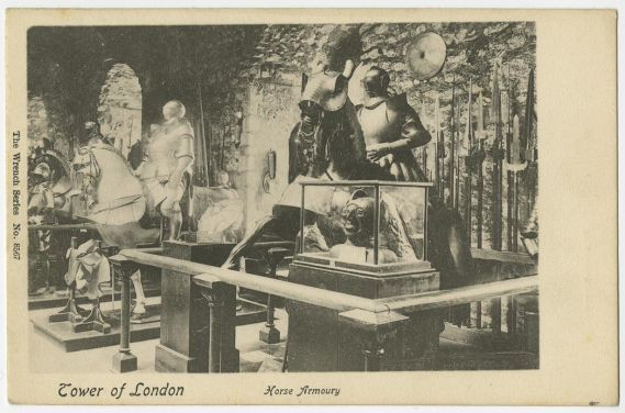 Postcard showing armour in tower of London Horse Armoury