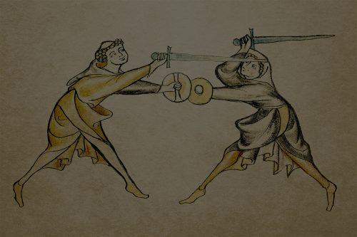 Two people depicted fighting with swords and small shields in a manuscript illustration