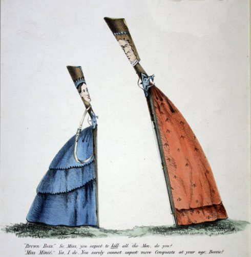 'Brown Bess', in a red dress decorated with broad arrows, and Miss Minie, in a blue dress,