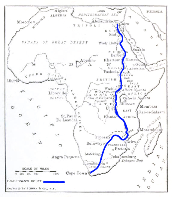 A map of Africa showing Grogan's route