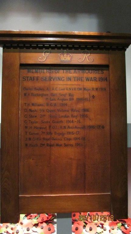 Oak board, showing the names of members of the Armouries staff serving in the war