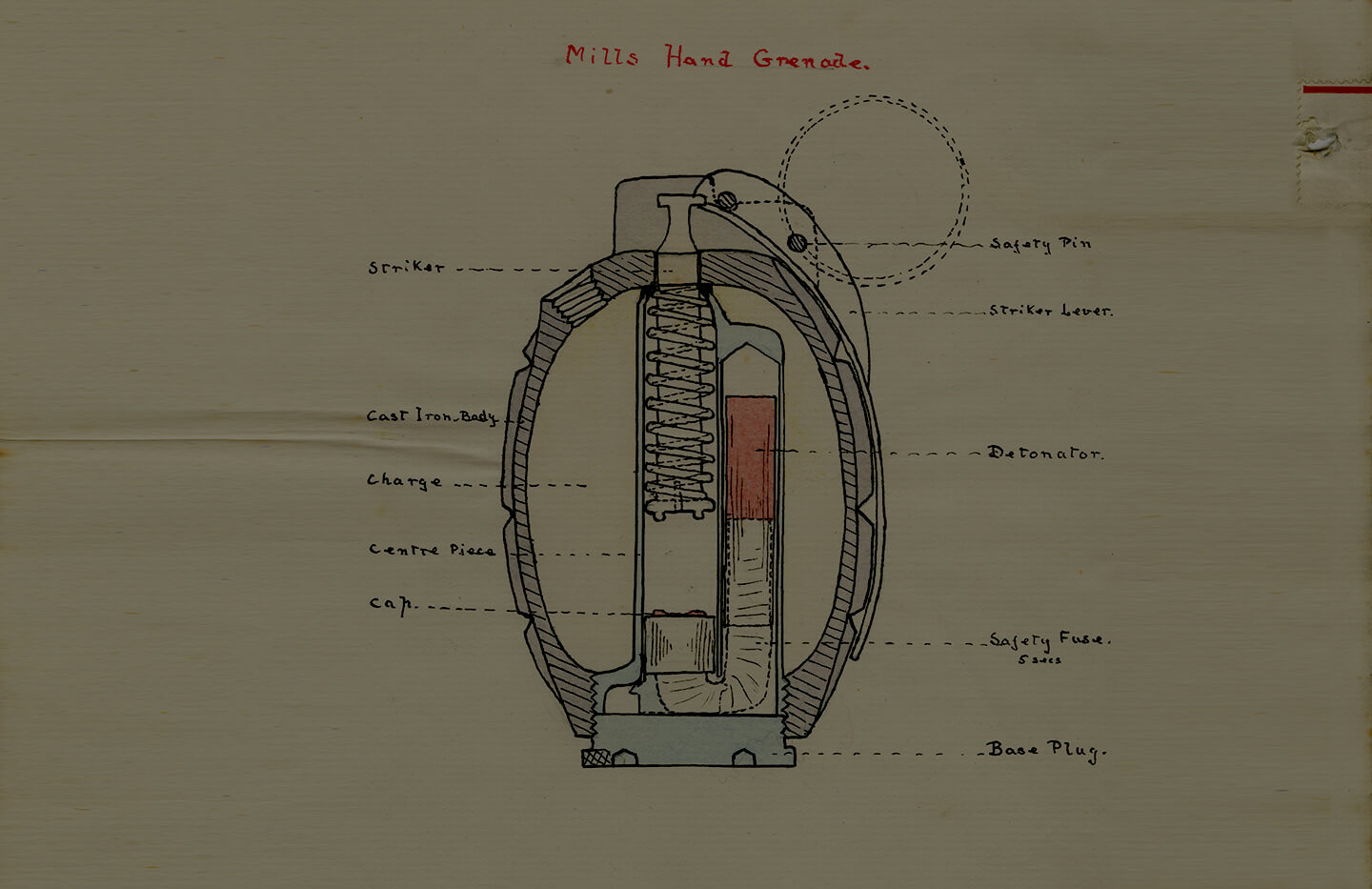 Diagram of a No 5 Mills hand grenade