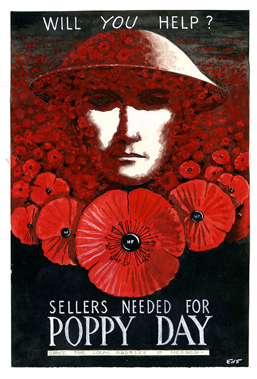 """Will you help?"" A British soldier head emerges from a field of poppies, representing his fallen comrades: ""sellers needed for poppy day"""