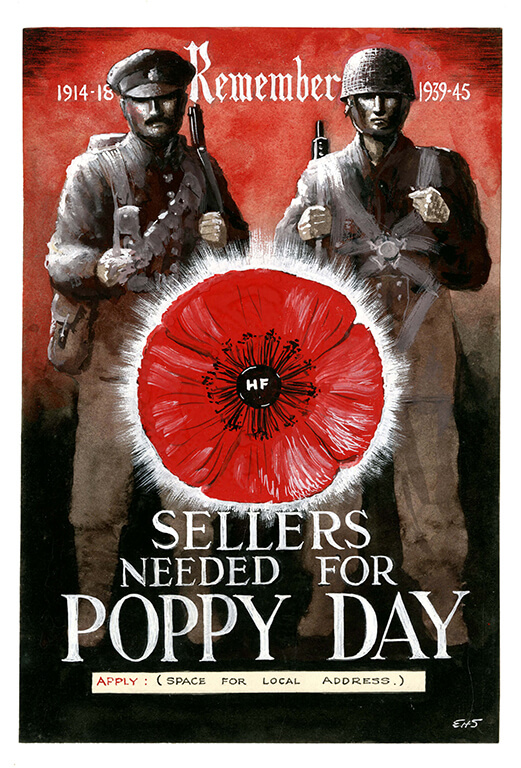 """1914-1918 - Remember - 1939-1945"" Two British soldiers from both world wars stand side by side. ""sellers needed for poppy day"""