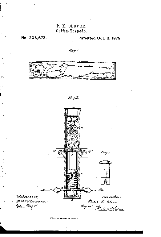 patent drawing of a coffin torpedo