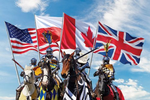 Four mounted jousting knights resplendent in their glittering armour gather menacingly under the flags of their respective countries