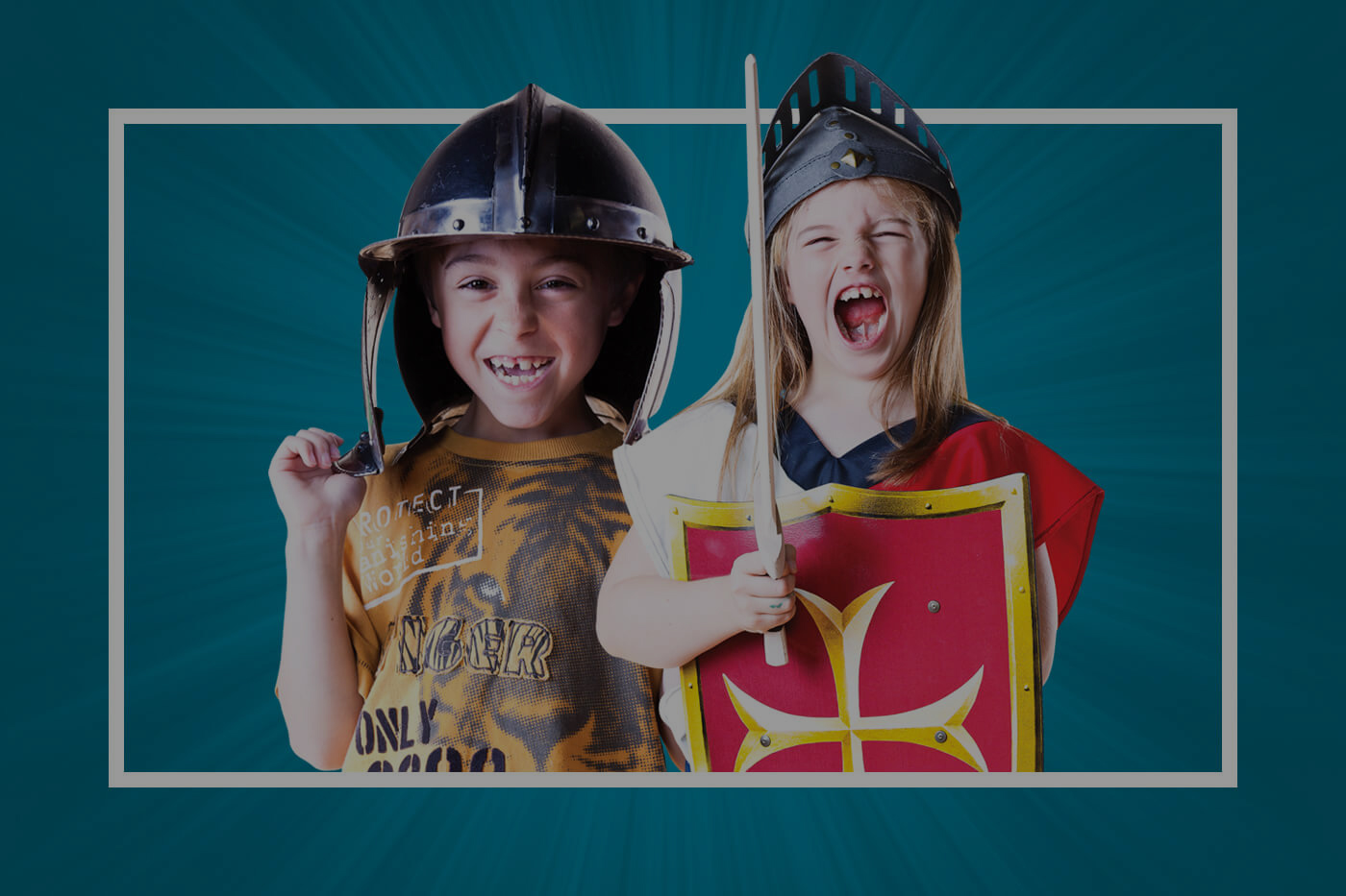 excited children in play armour let out a battle cry