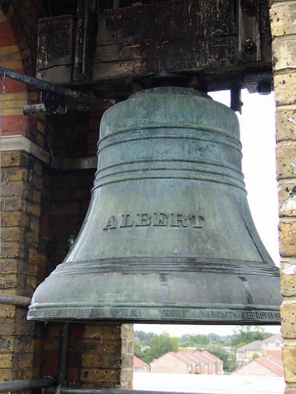 Bronze bell with the name Albert cast on it