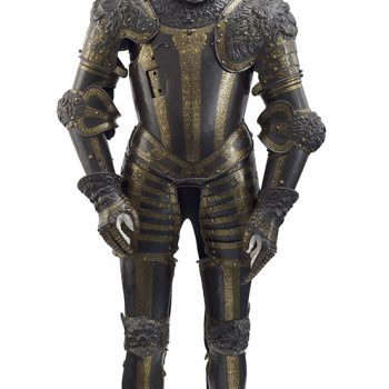 embossed armour decorated with lions