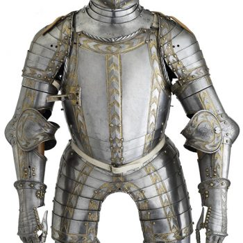 armour decorated with gold bands