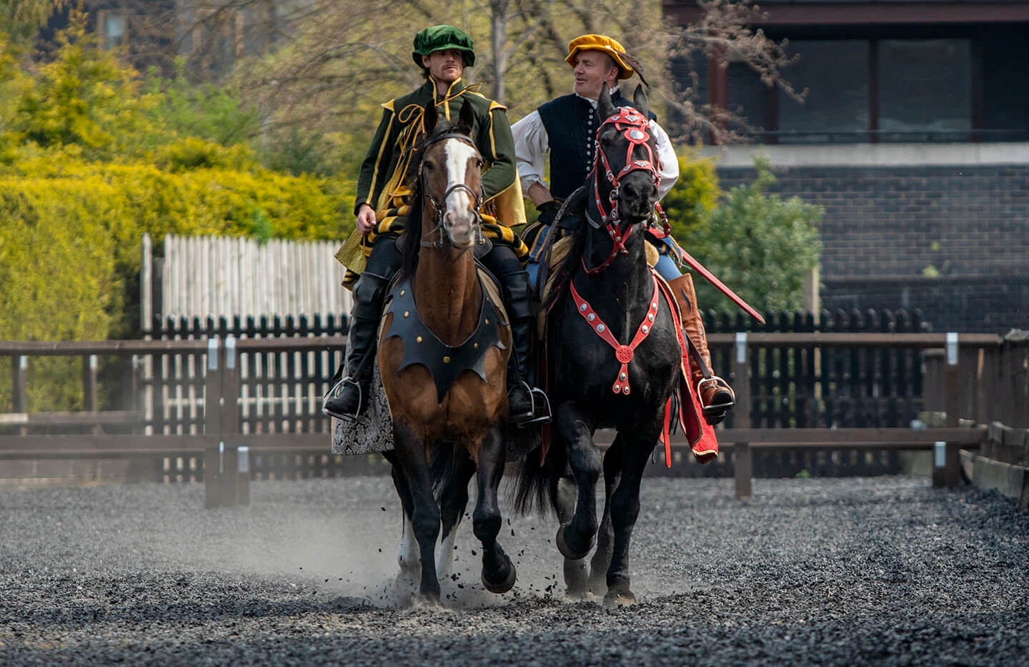 rider in green cloak 'running at the ring'