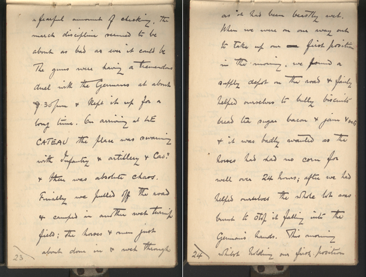 handwritten WWI diary entry