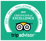 Tripadvisor Hall of Fame certificate of excellence 2019