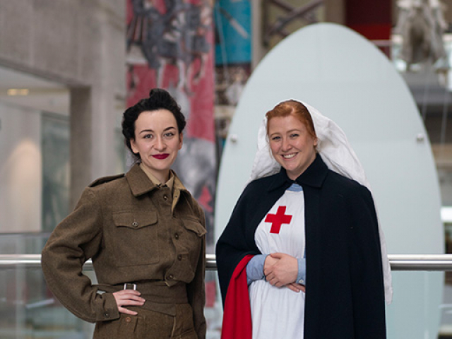 two women dressed in first world war costume