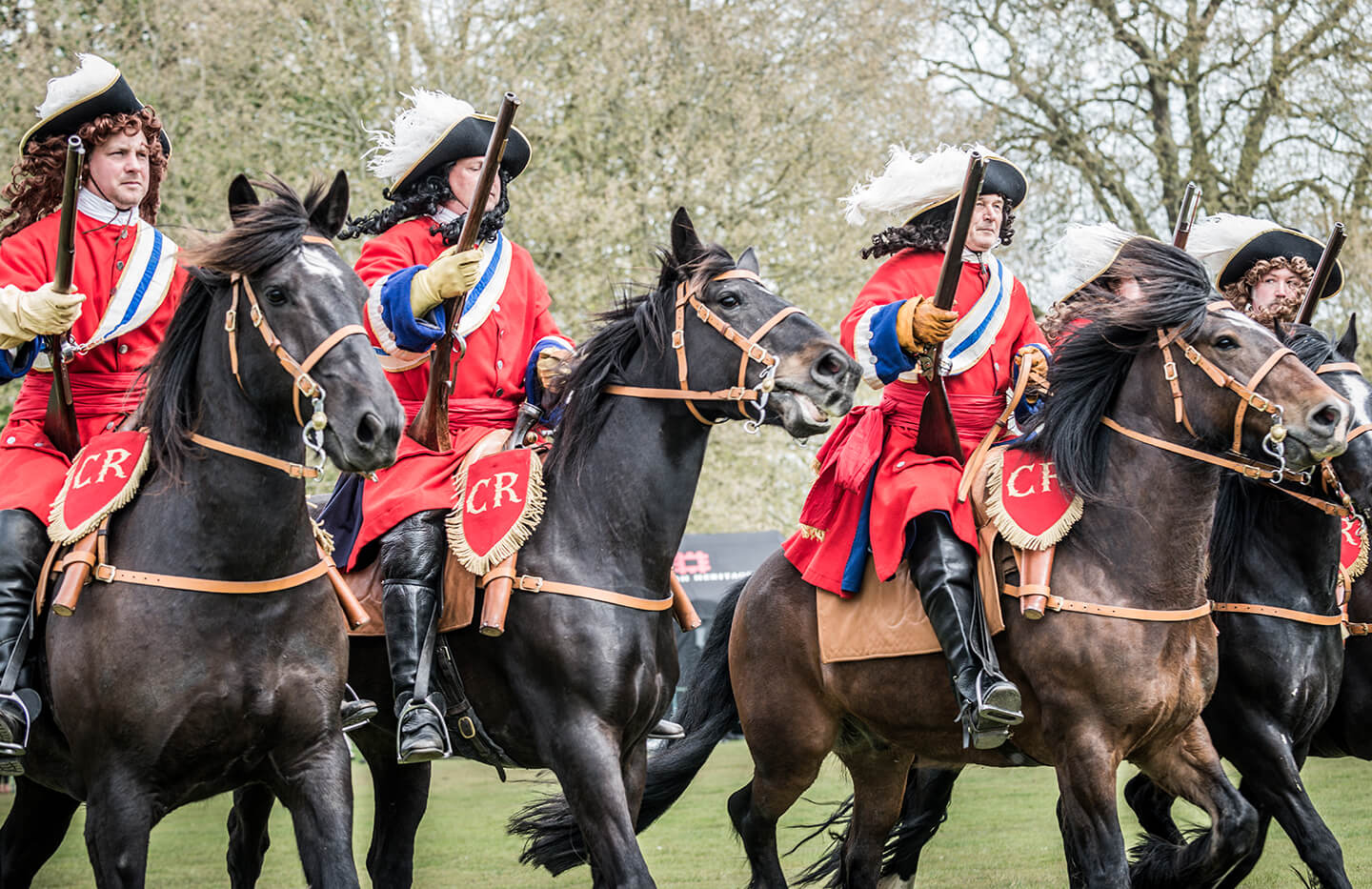 Four 17th century horsemen charge. © Stephen Moss/PhotoSM