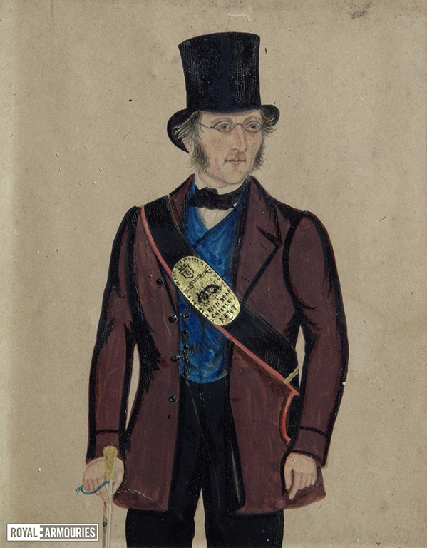 painting of man in a red coat with blue waistcoat wearing a top hat and glasses. A belt is slung across his chest