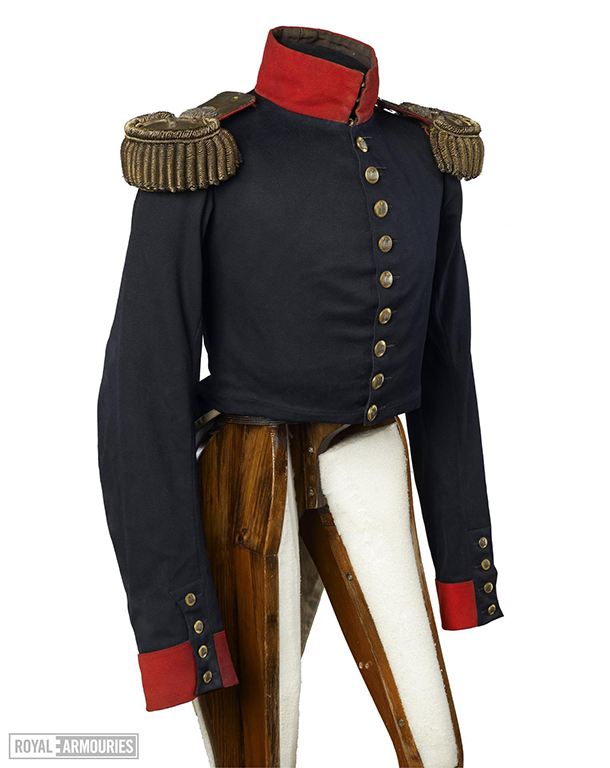 blue and scarlet uniform jacket with gold wire epaulettes