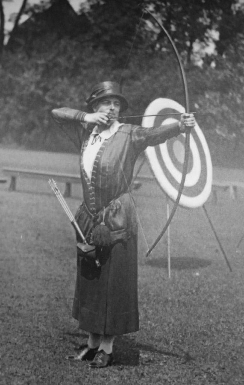 Early 20th century woman competing in an archery competion