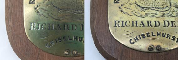 belt plate shown before and after cleaning
