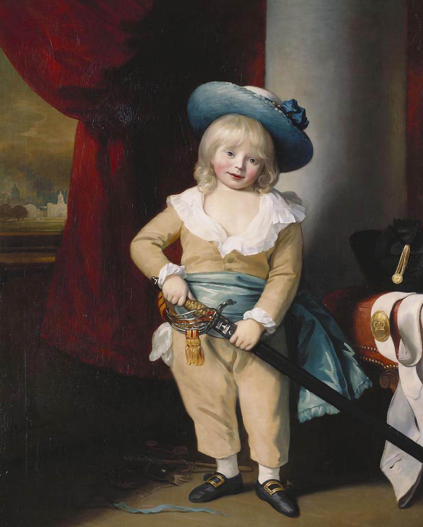An 18th-century prince in a blue hat holding an adult sword