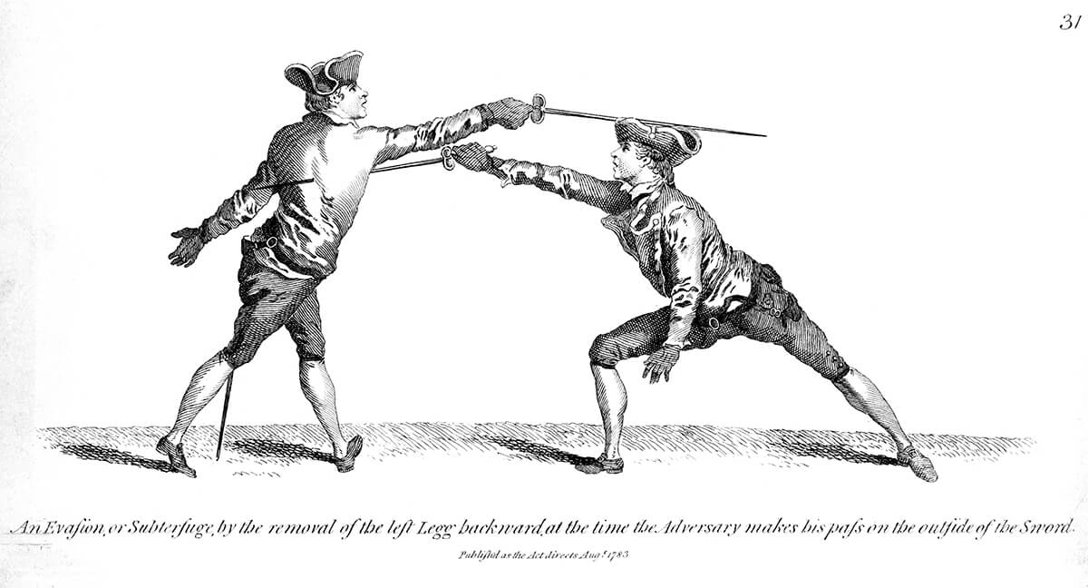 two 18th-century gentlemen practising their fencing