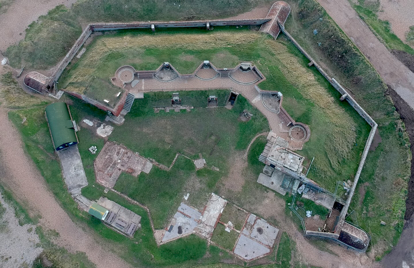 Aerial photograph of a fort