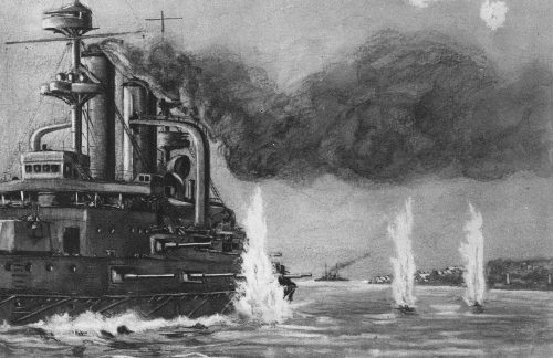 Drawing of a first world war warship engaed in battle