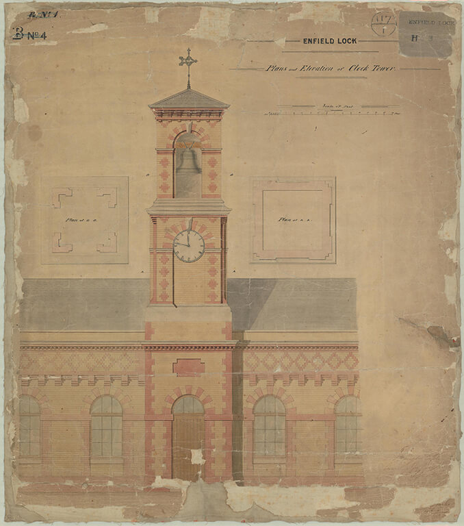 Architectural drawing of the clock tower at the Royal Small Arms Factory at Enfield