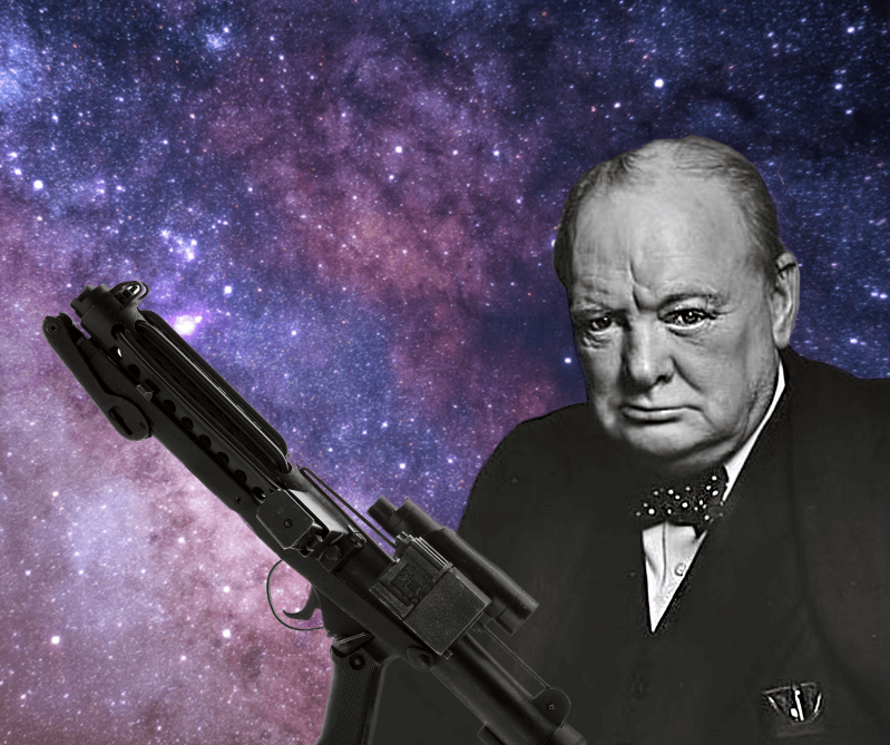 A serious looking Winston Churchill on a starry background with a Stormtrooper blaster is imposed over him, as if he is holding it.