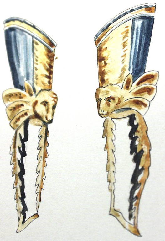 An illustrated pair of leg armours