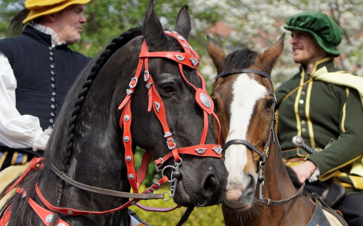 Two horses nuzzle each other while their riders talk. Riders are dressed in medieval clothing.
