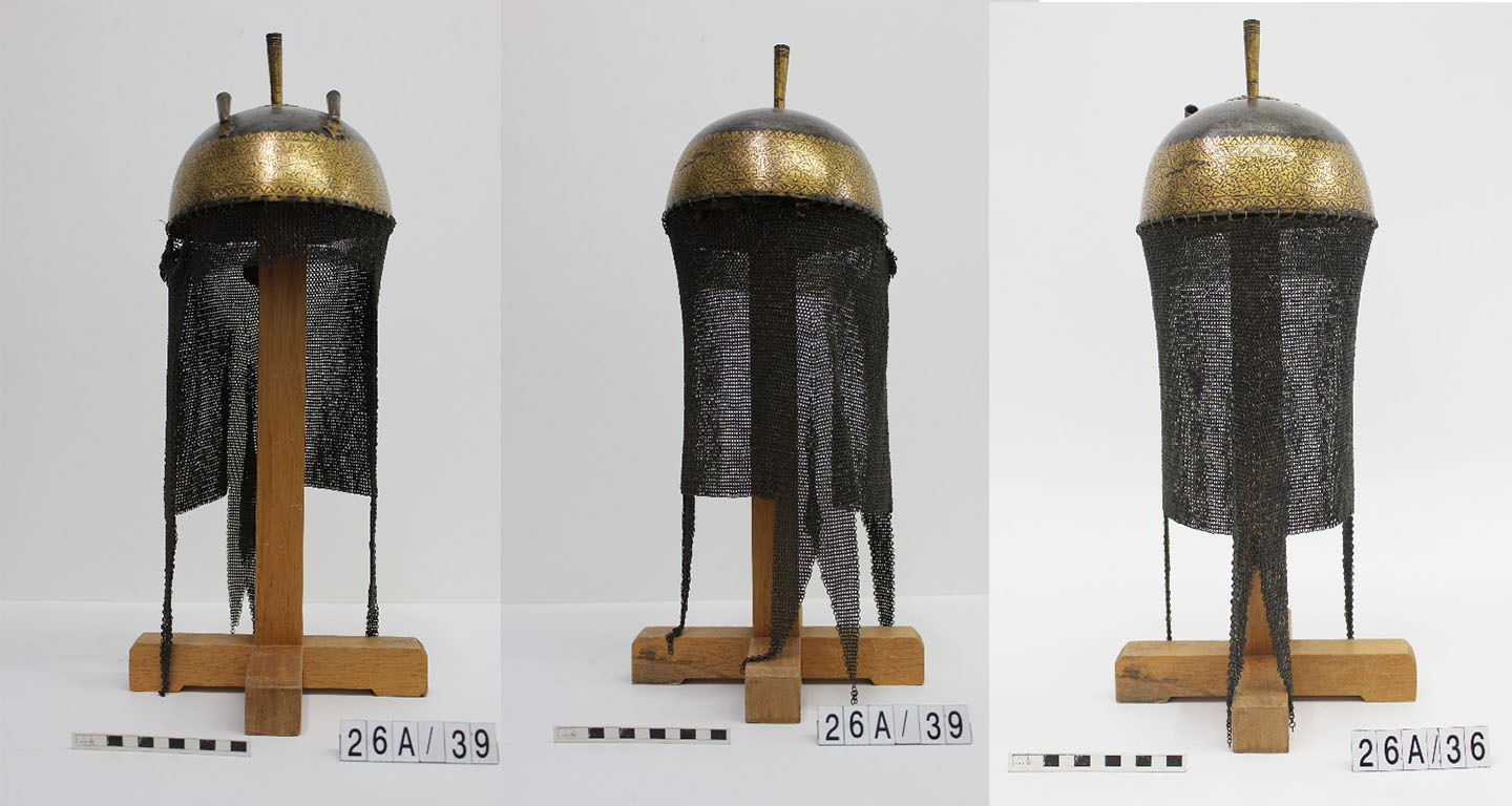 Three photos of a metal helmet with hanging mail protections