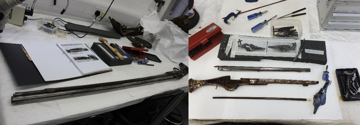 Two photos of early modern firearms, being disassembled part by part.