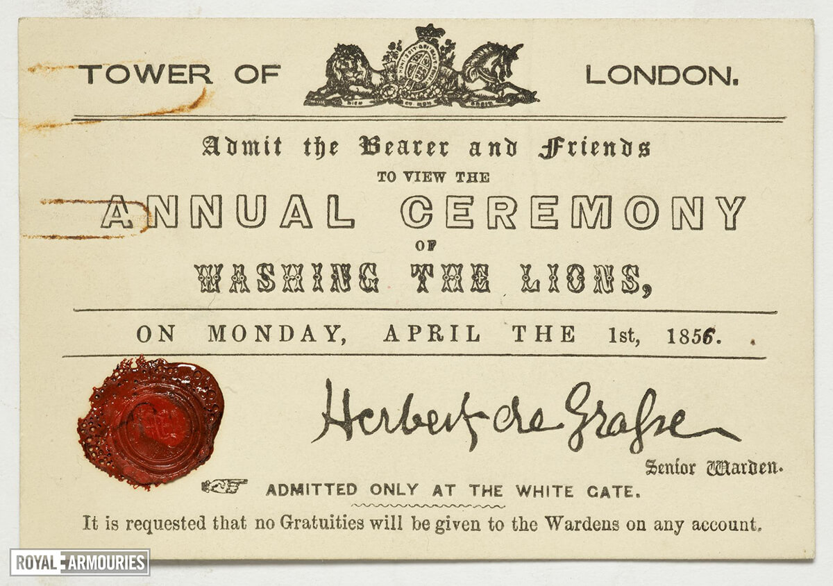 admit the bearer and friends to view the annual ceremony of washing the lions