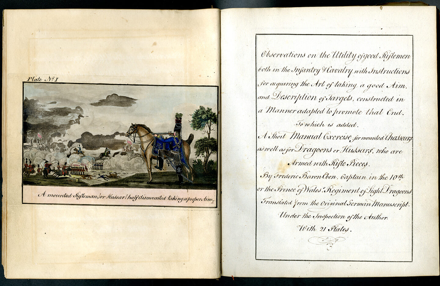 An old book laid out with its pages open. One side has a picture of a man shooting wit his rifle resting on the back of his horse. Right hand page has hand written notes on rifleman ship.