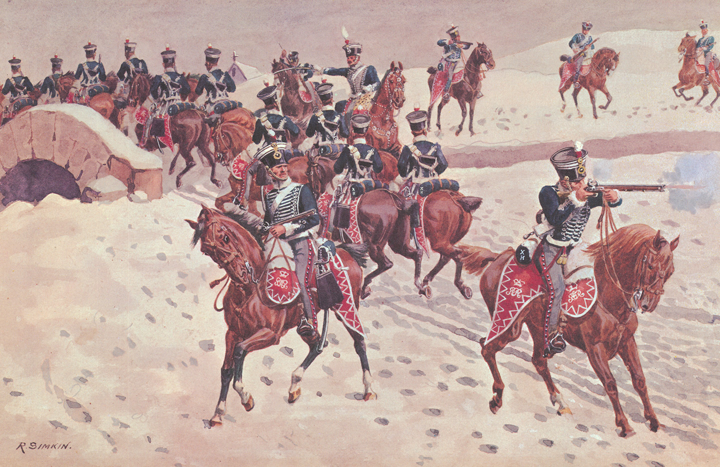 A painting of mounted riflemen ride across a bridge and one shoots his rifle at the enemy