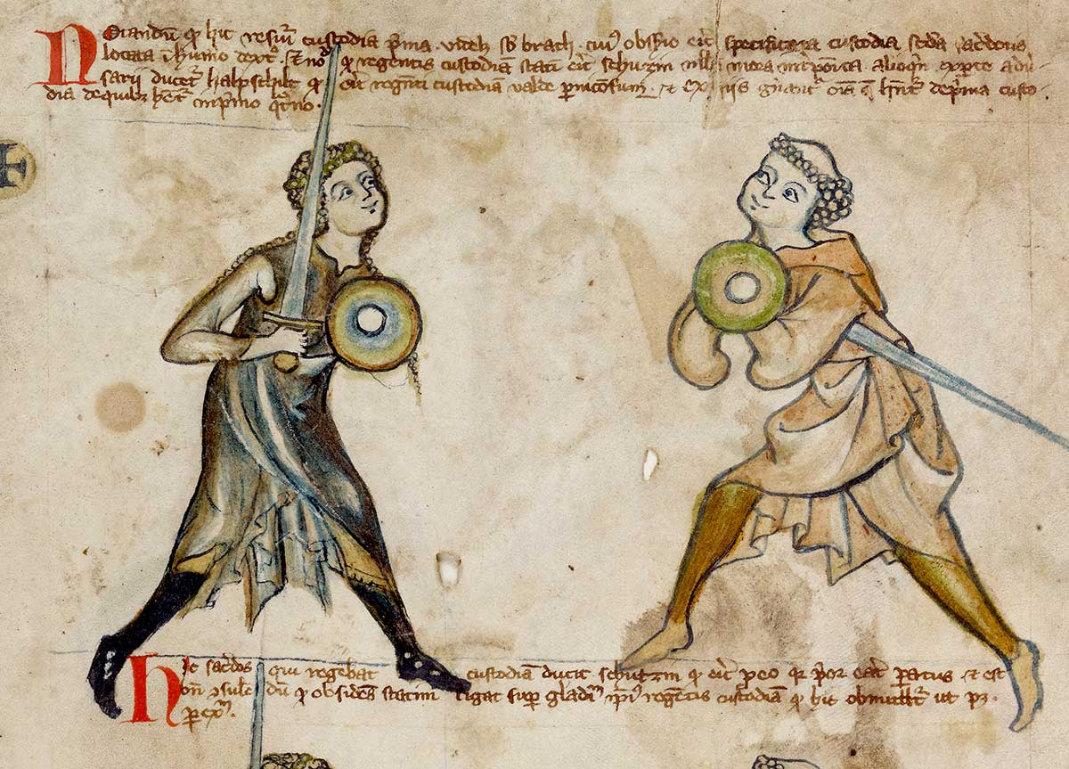 medieval woman with sword and shield faces a priest