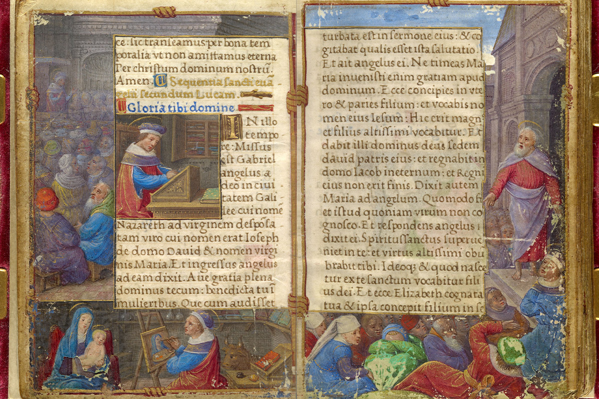 An old Book with illustration around the edge and script in the middle