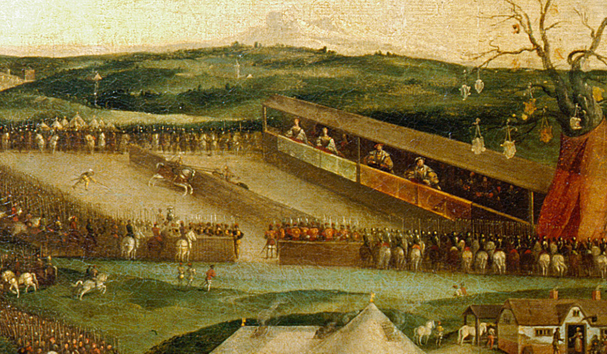 A painting of a joust with two kings and two queens watching riders with a large crowd