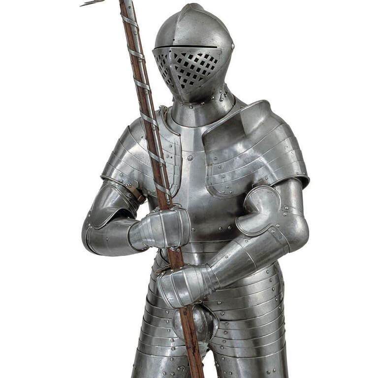 A suit of Armour holding a pole-arm