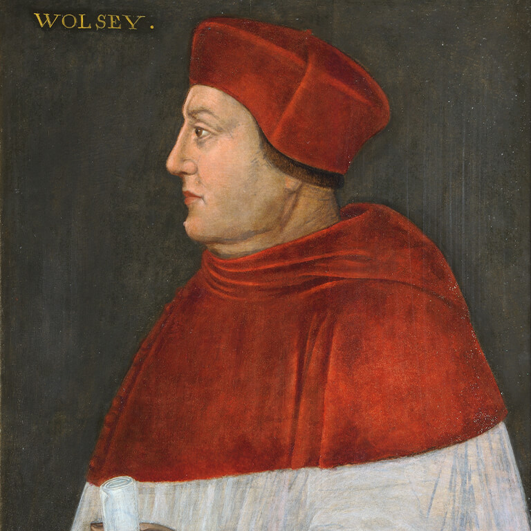 A painting of a man in a red and white gown.